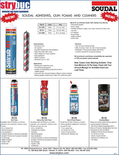 Soudal Adhesives, Gun Foams and Cleaners