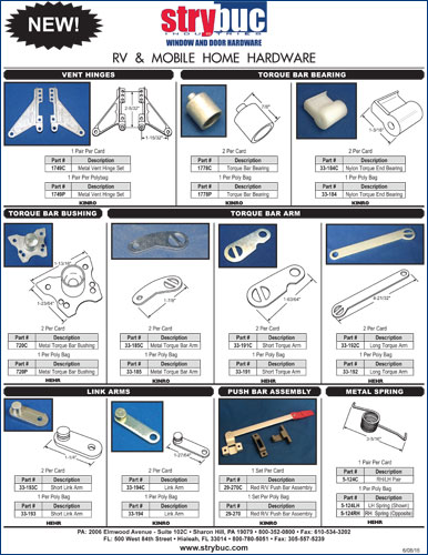 New RV & Mobile Home Hardware Products